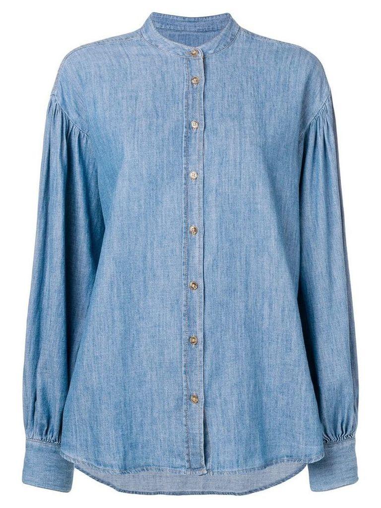 Closed band collar denim shirt - Blue