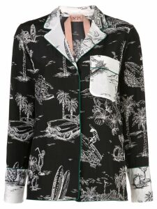 Nº21 palm trees shirt - Black