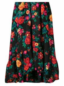 MSGM asymmetric floral print skirt - Black