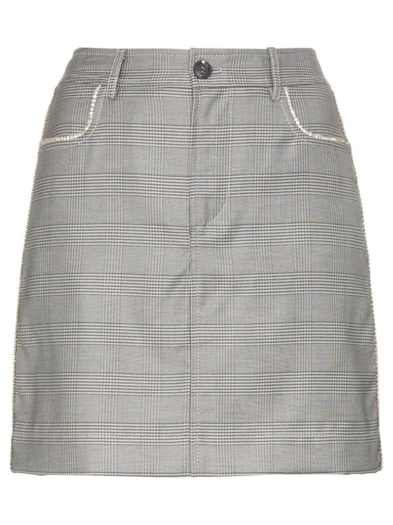 Ganni Merkel check silk and wool blend skirt - Grey