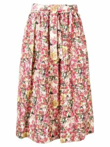 Marni full floral print skirt - Red