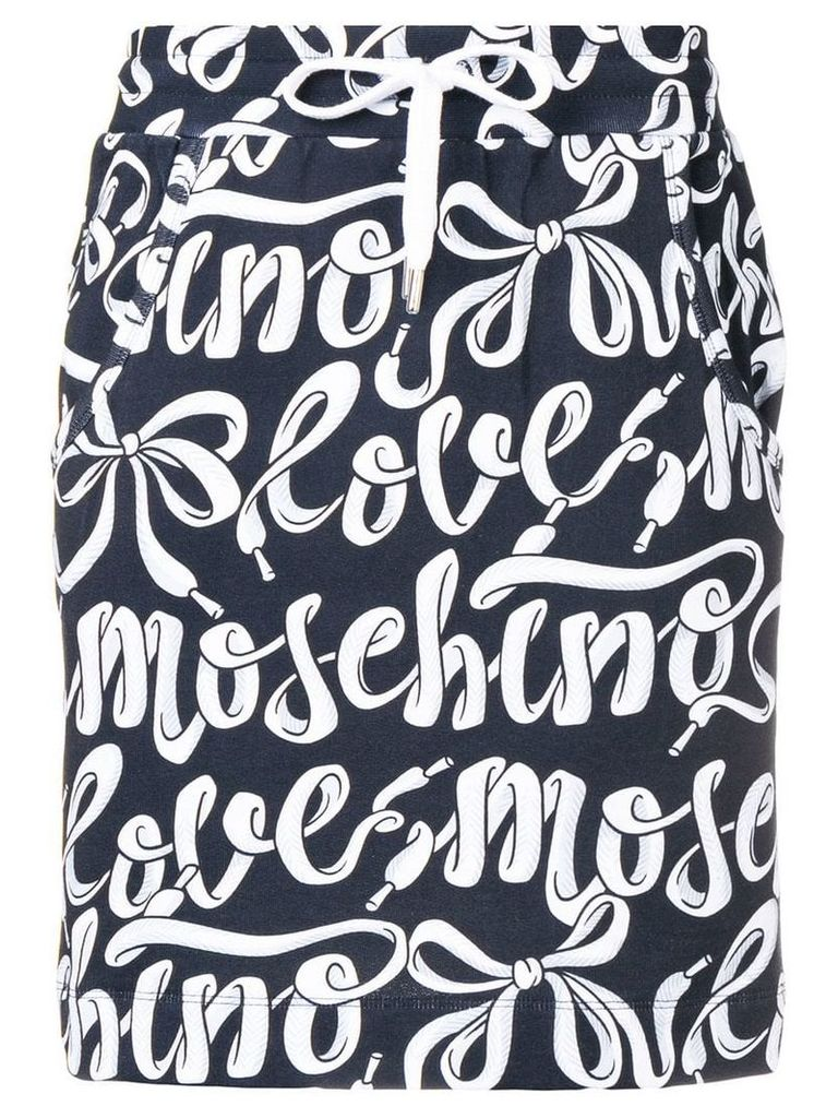 Love Moschino high waisted logo print skirt - Black