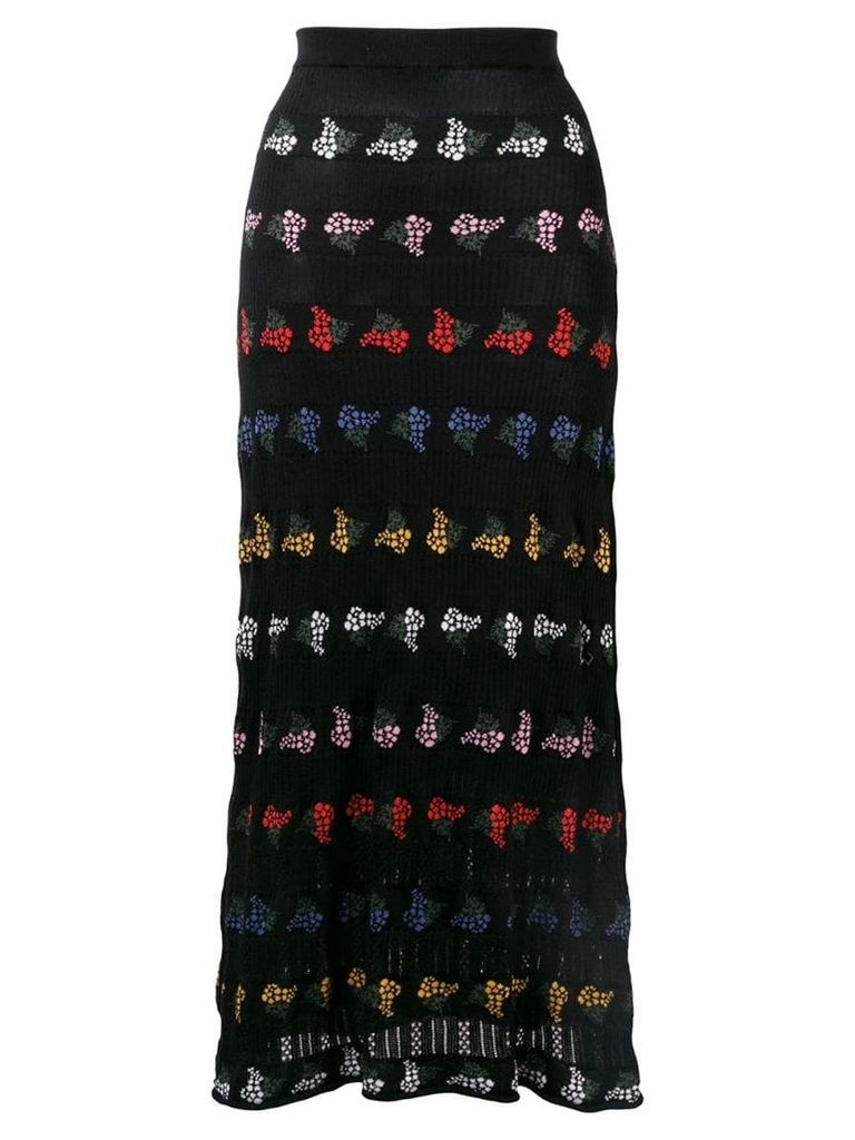 Sonia Rykiel floral knit maxi skirt - Black