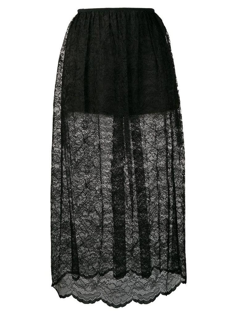 Paco Rabanne lace midi skirt - Black