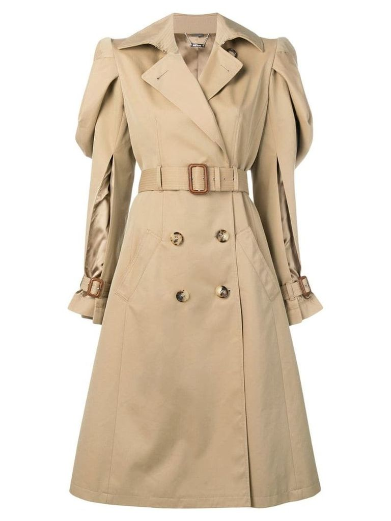 Alexander McQueen puffy sleeves trench coat - Neutrals