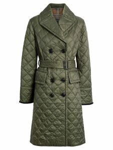 Burberry Lightweight Diamond Quilted Coat - Green