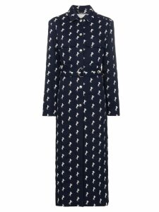 Chloé horse embroidered wool trench coat - Blue