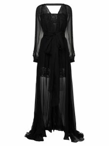 Versace embroidered layered tulle gown - Black