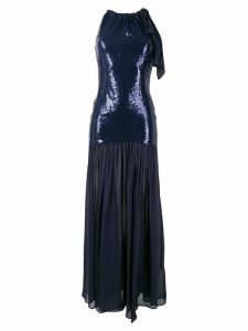 Just Cavalli sequinned shoulder bow gown - Blue