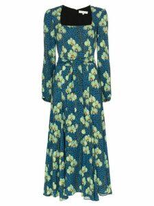 Borgo De Nor Annabella leopard orchid print midi dress - Blue