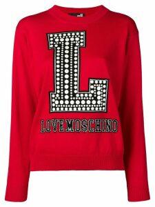 Love Moschino logo intarsia jumper - Red