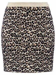 Miu Miu leopard print knitted skirt - Gold