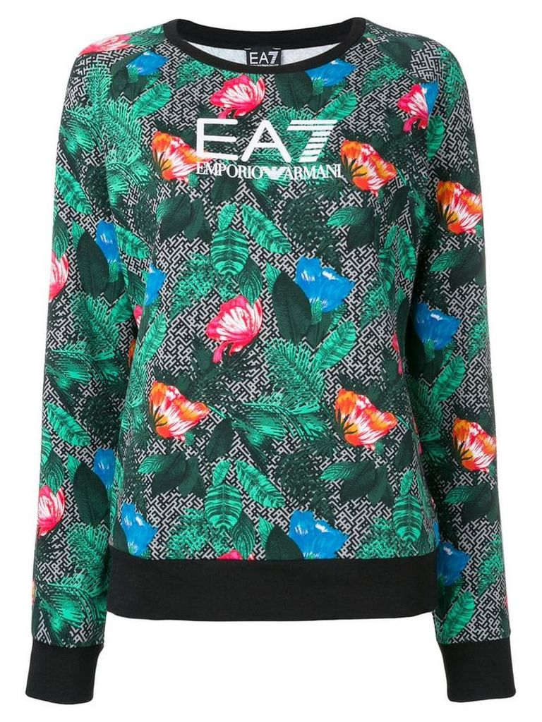 Ea7 Emporio Armani floral print sweatshirt - Green