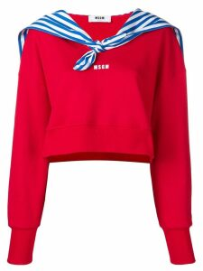 MSGM cropped sweatshirt with sailor's detail - Red