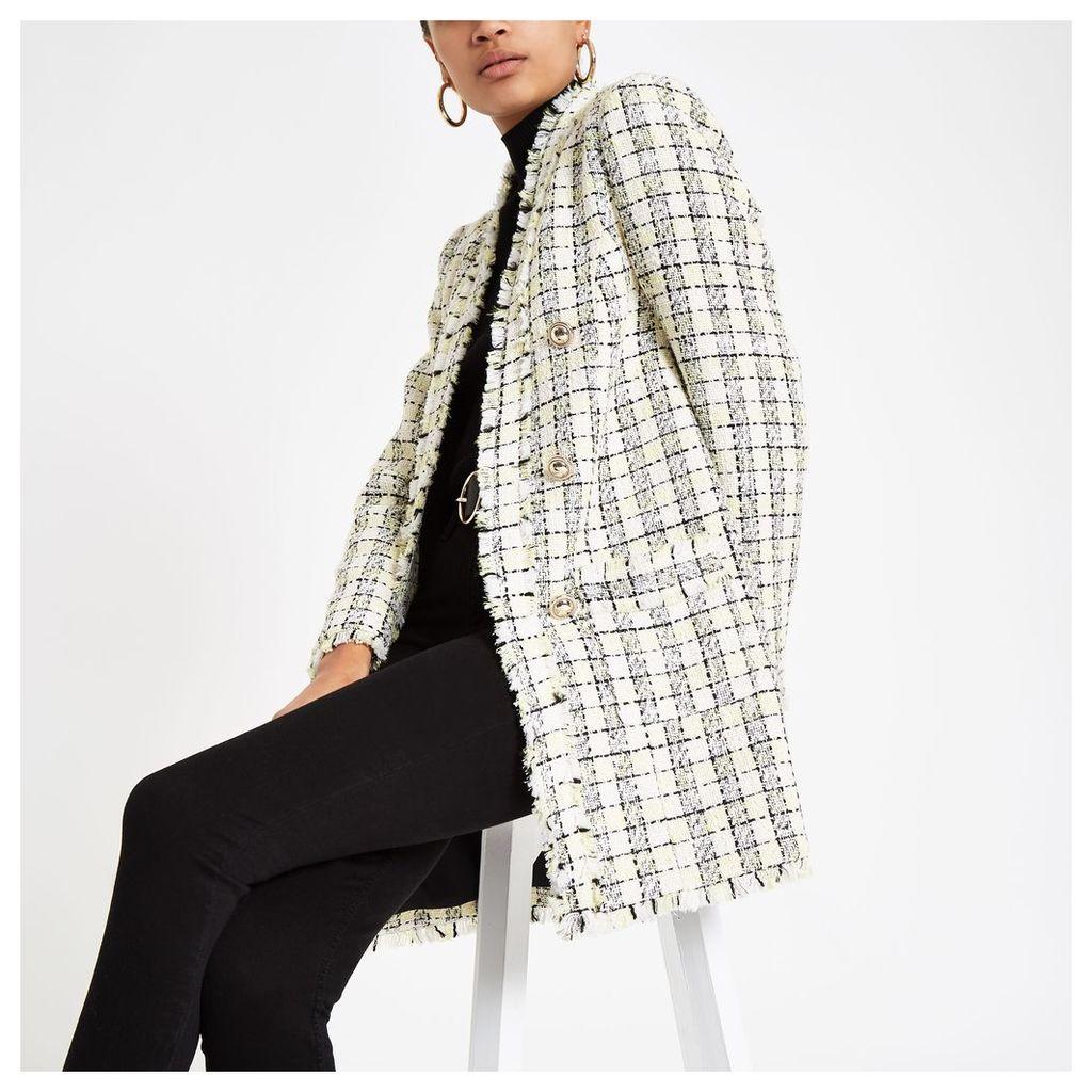 Womens Yellow check longline boucle jacket