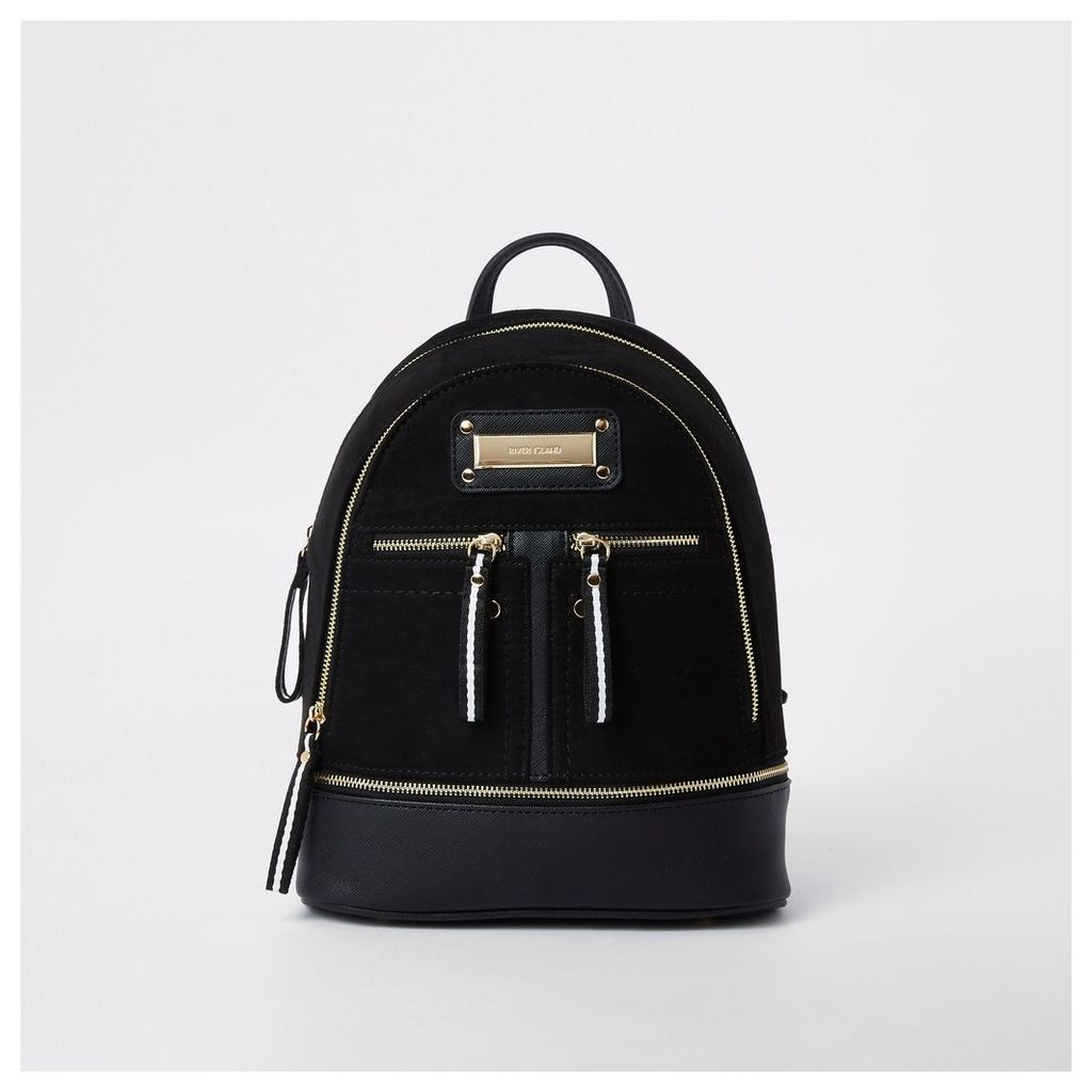 Womens Black mini zip pocket backpack