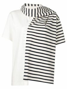 JW Anderson striped jersey t-shirt with draped scarf - White