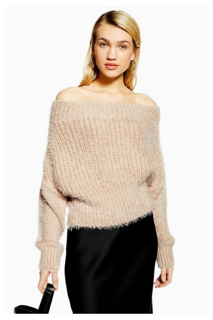 Womens Fluffy Off Shoulder Jumper - Neutral, Neutral
