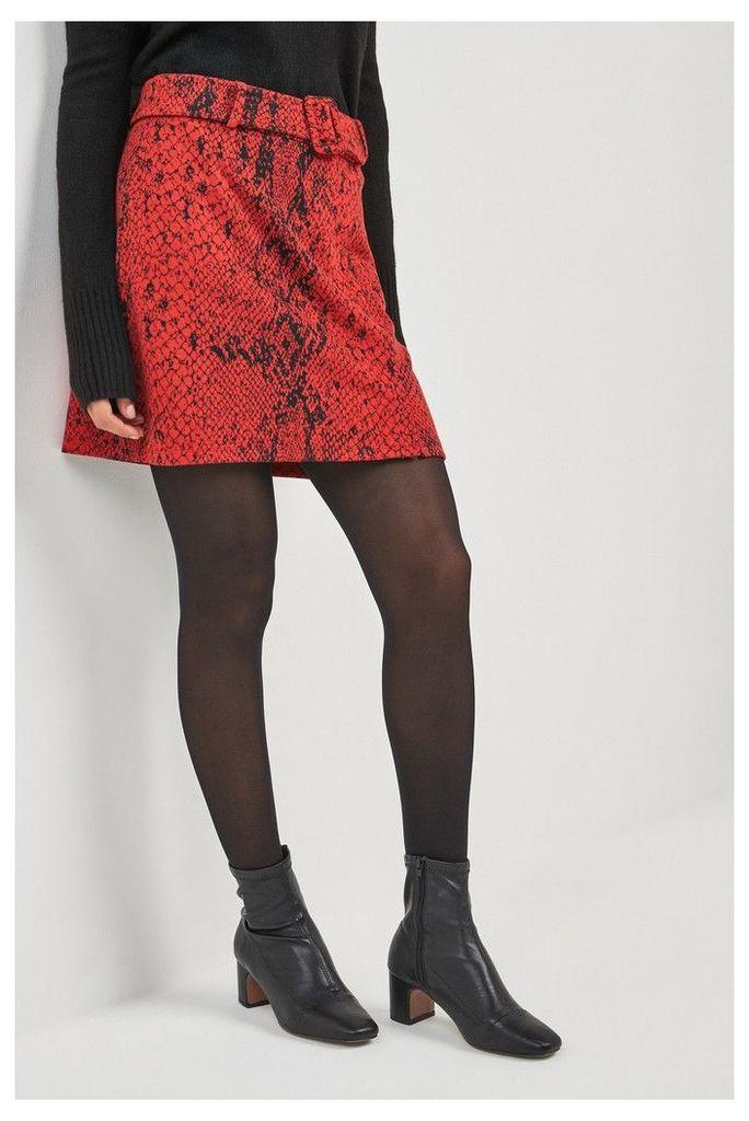 Womens Next Red Snake Print Mini Skirt -  Red
