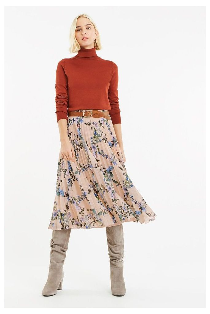 Womens Oasis Natural Printed Pleated Skirt -  Blue