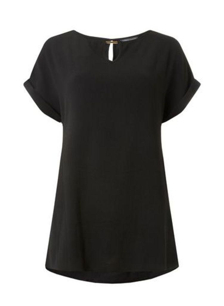 Womens **Tall Black Bar Trim T-Shirt- Black, Black