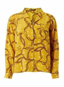 Womens Yellow Spot Print Shirt- Yellow, Yellow