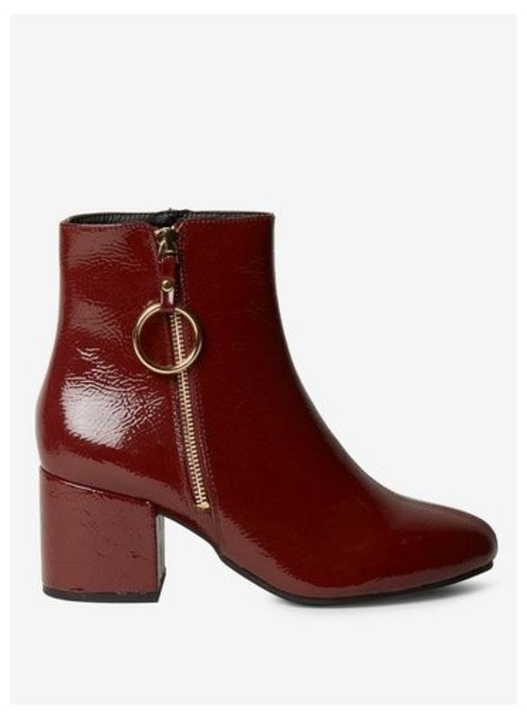 Womens Wide Fit Burgundy 'Amelie' Zip Boots- Red, Red
