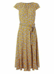 Womens **Billie & Blossom Multi Colour Floral Print Midi Fit And Flare Dress- Orange, Orange