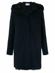 Yves Salomon raccoon fur, lamb fur and cashmere hooded coat - Blue