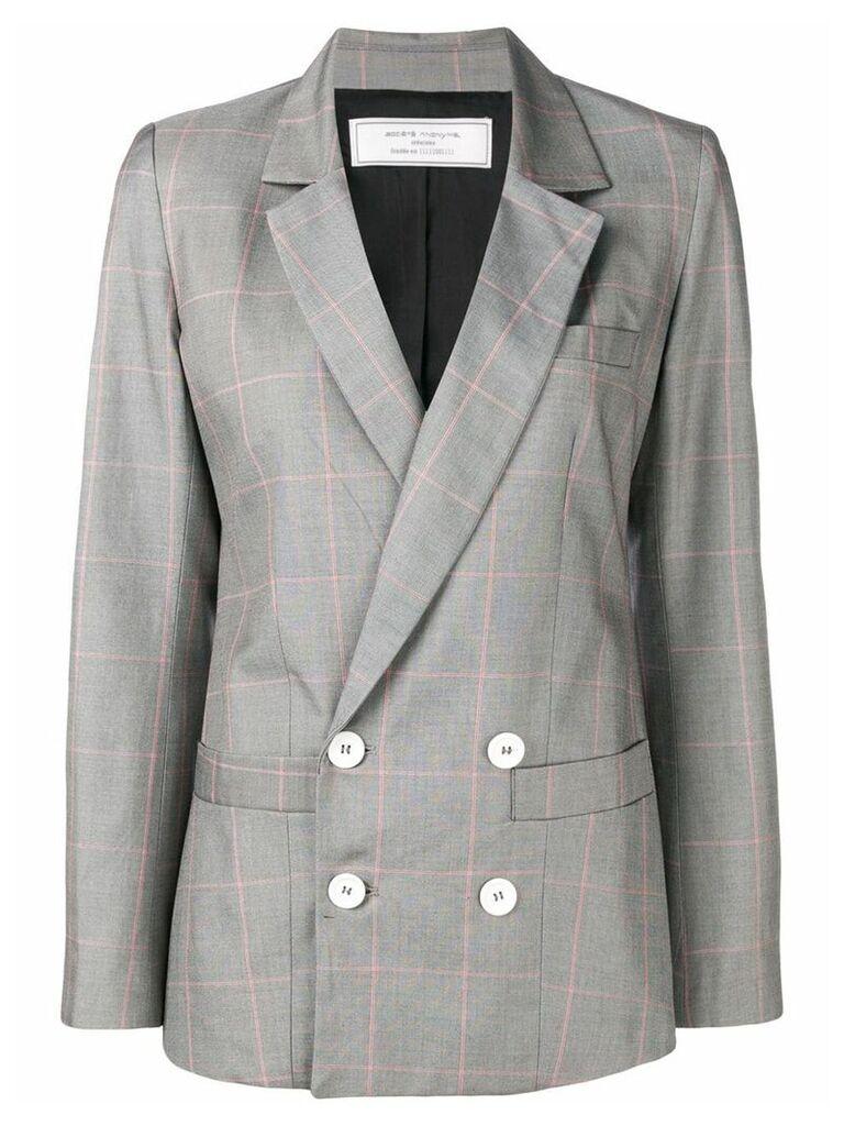 Société Anonyme checked double breasted blazer - Grey