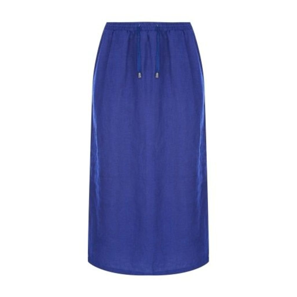 Indigo Solid Linen Skirt