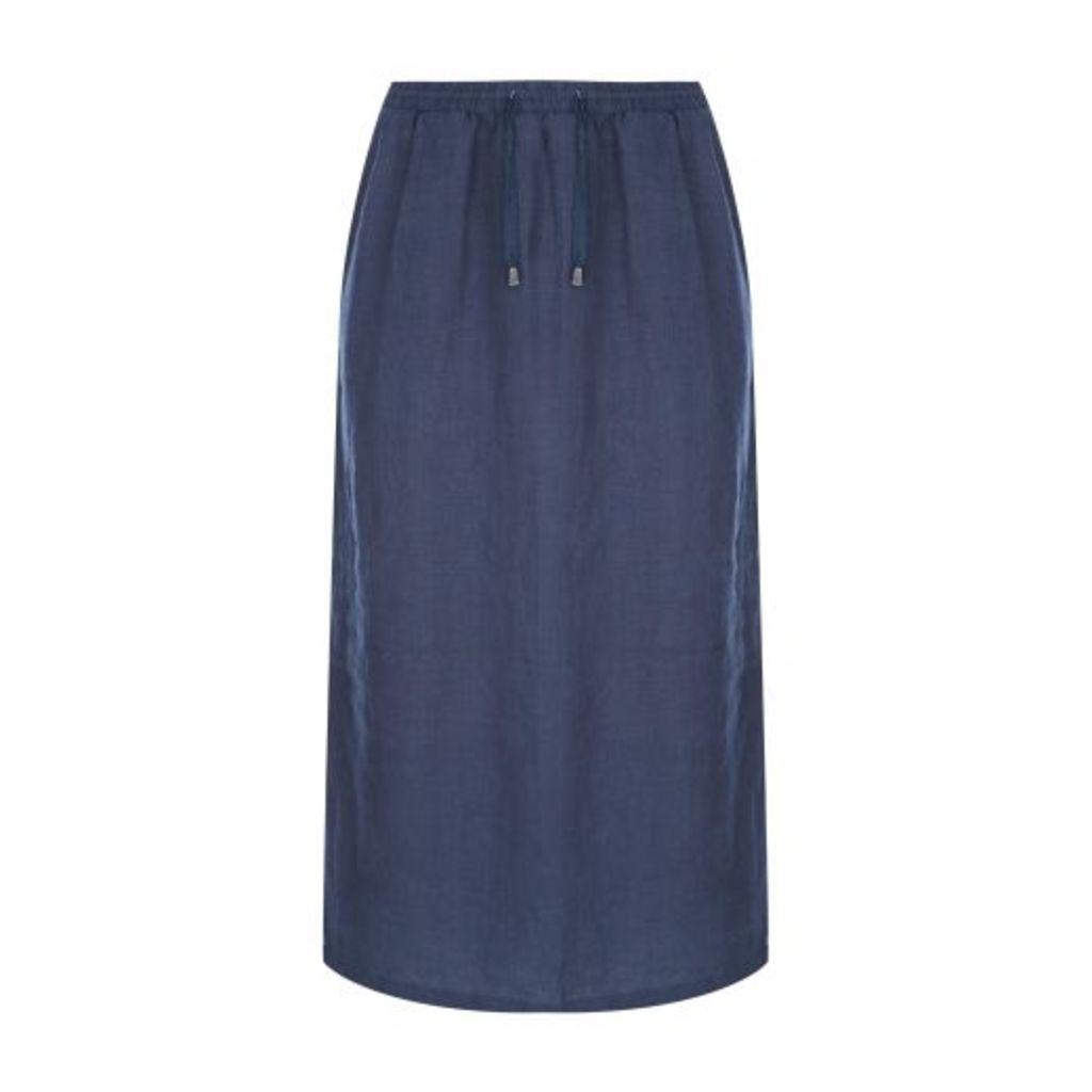 Santorini Blue Linen Skirt