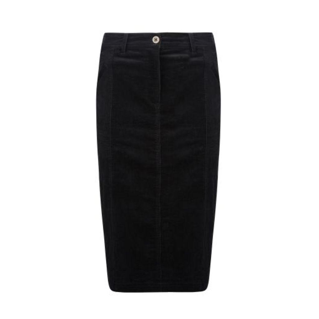 Black Midi Cord Skirt
