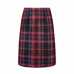Cranberry Boucle Checked Skirt