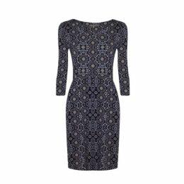 Blue Mosaic Print Dress