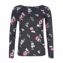 Long Sleeve Print Floral Stripe Top