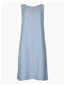 M&S Collection Fuller Bust Linen Rich Shift Dress