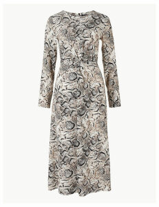 M&S Collection Animal Twist Front Fit & Flare Midi Dress