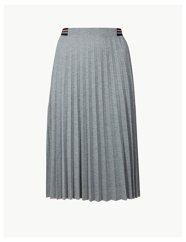 M&S Collection Jersey Pleated Midi Skirt