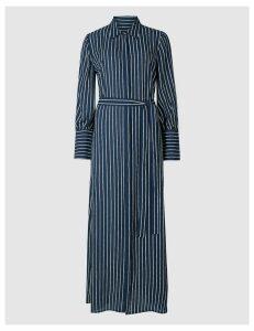M&S Collection Striped Tie Waist Shirt Maxi Dress