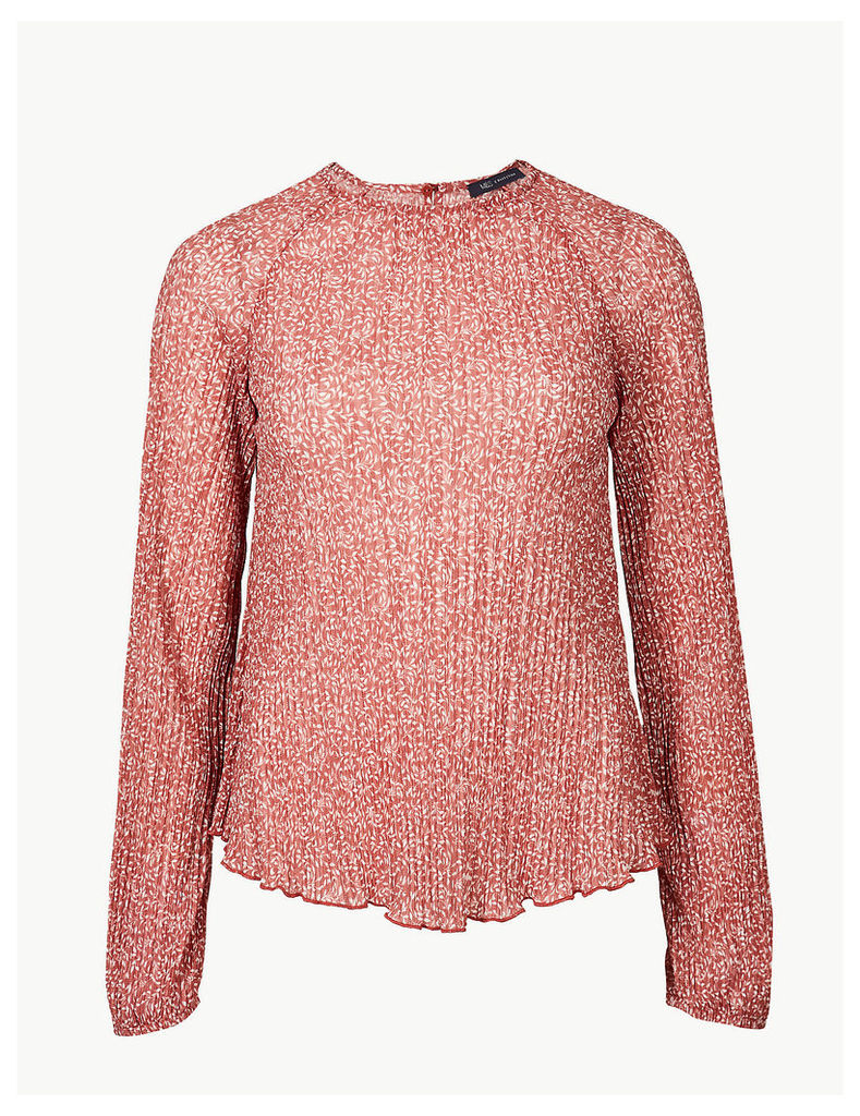 M&S Collection Floral Print Sheer Round Neck Blouse