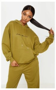 PRETTYLITTLETHING Khaki Embroidered Oversized Hoodie, Green