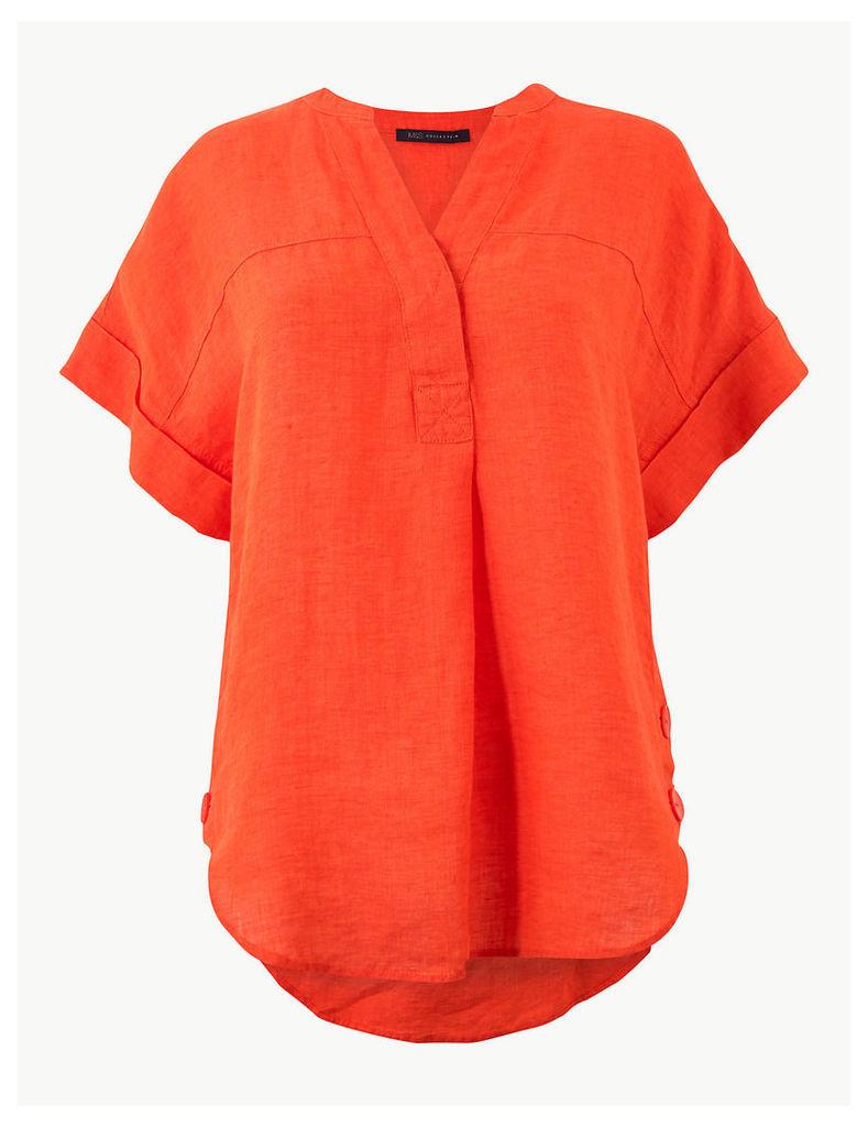 M&S Collection Pure Linen Short Sleeve Shirt