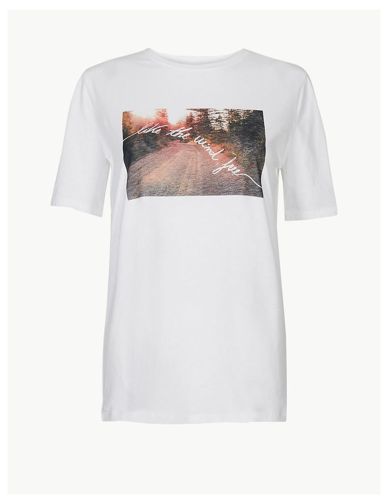 M&S Collection Pure Cotton Slogan Straight Fit T-Shirt