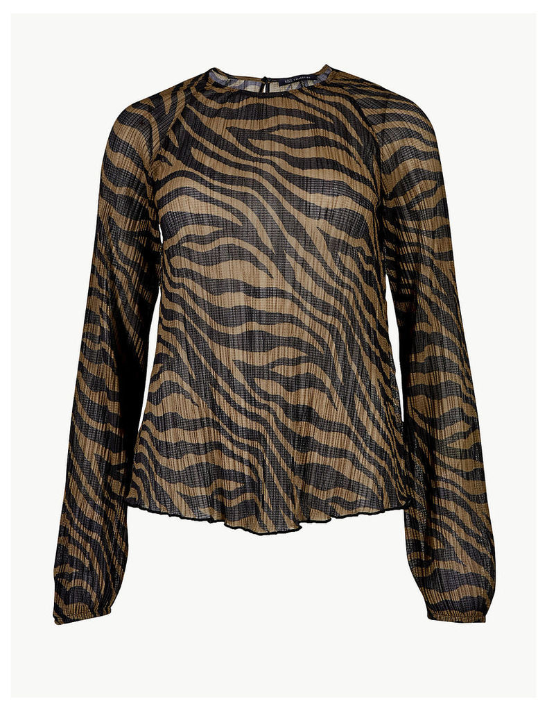 M&S Collection Animal Print Sheer Round Neck Blouse