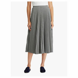 Lauren Ralph Lauren Suzu Pleated A-Line Skirt, Black/Cream