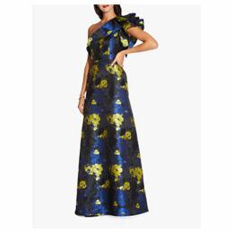 Adrianna Papell Long Floral Jacquard Dress, Sunbeam