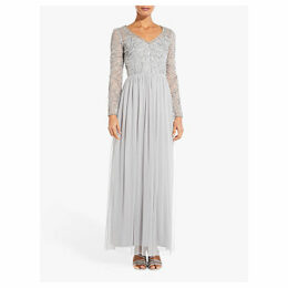 Adrianna Papell Beaded Maxi Dress, Bridal Silver