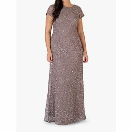 Chesca Short Sleeve Sequin Maxi Dress, Stone