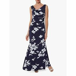 Gina Bacconi Naima Maxi Dress, Navy/Ivory